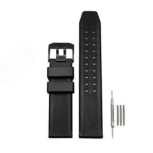 - 23mm Rubber Watch Band Strap Fits Casio Replacement Luminox 3050 8800 and 3950 Series (23mm-Black Buckle)