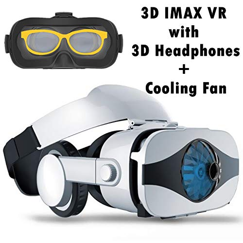 VR Headset Virtual Reality Goggle w/Headphone & Fan for 3D Movie Game, VR Glasses Compatible for iPhone Xs MAX XR X 8 7 Plus Samsung Galaxy S9 S8 S7 Edge Note 5 4 3 LG G7 G6 G5, 360 VR Viewer White ()