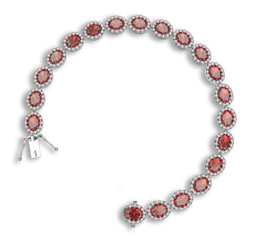925 Sterling Silver Tennis Bracelet Brilliant Oval Cut Red CZ Pave Set with White Cubic Zirconia, 7.5