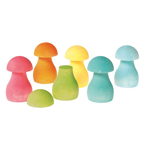 Pastel Rainbow Mushrooms for Sorting, Stacking, Building & Playing (Rainbow Mushroom)