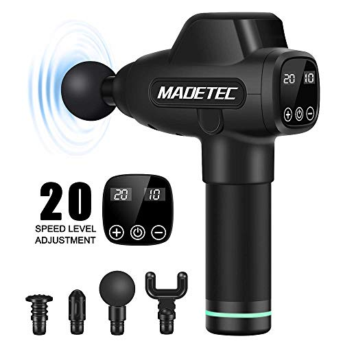MADETEC Muscle Massage Gun Deep Tissue Percussion Muscle Massager Guns for Athletes Pain Relief Therapy and Relaxation, Handheld Vibration Portable Drill Massager Device- Quiet, 20 Speed
