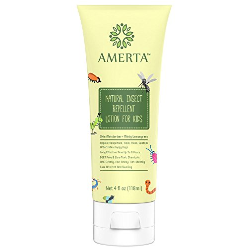 AMERTA Natural Insect Repellent Lotion for Kids, DEET FREE, Repels Mosquitoes, Gnats, No-See-Ums, Ticks, and More Biting Bugs, Relieves Itching and Swelling, and Moisturizes Skin