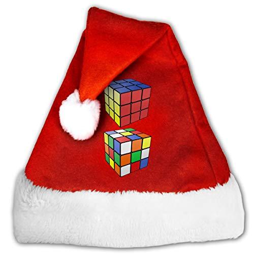 FGHJKL Rubik S Cube Plush Santa Hat Comfortable Double Thick Plush Red Velvet Cap -