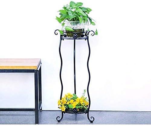 植物スタンド 錬鉄屋外植物はバルコニー屋内工場はオフィス植木鉢ラックスタンド 花台植物スタンド QFLY (Color : Black)