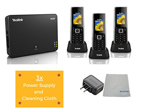 (Yealink W52P IP Cordless Phones Office Bundle-DECT Handset and Base Unit, Power Supply and Microfiber Cloth #YEA-W52P-VB3 | Requires VoIP Service (Yealink W52P DECT Base and 3 Handsets))