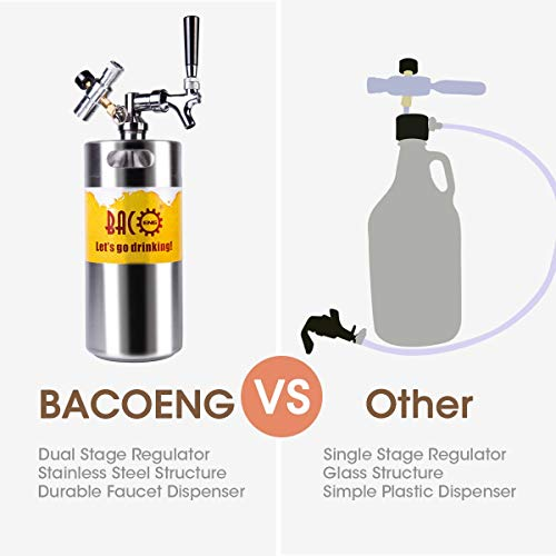 BACOENG 128 Ounce Pressurized Keg Growler, Kegerator for Home Brew Beer with Updated CO2 Regulator by BACOENG (Image #1)