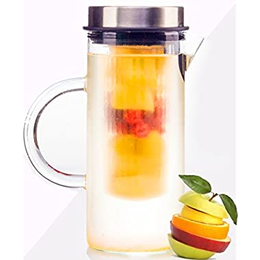 bobuCuisines Juice Boost Fruit Infusion Pitcher, Glass Water Pitcher for Lemon Fruits Herbs Ice Tea, Borosilicate Glass, Stylish Design Stainless Steel Lid, Full Blended Drink, 1000ml