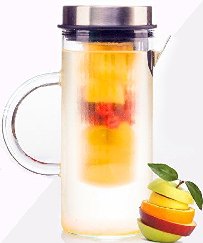bobuCuisines-Juice-Boost-Fruit-Infusion-Pitcher-Glass-Water-Pitcher-for-Lemon-Fruits-Herbs-Ice-Tea-Borosilicate-Glass-Stylish-Design-Stainless-Steel-Lid-Full-Blended-Drink-1000ml