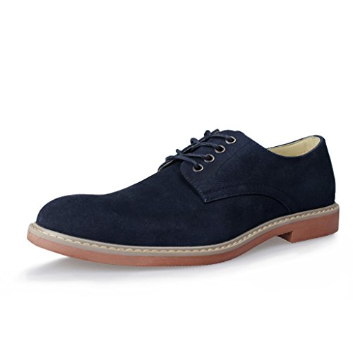Navy Shoe Blue Stripe Flat (Hawkwell Men's Casual Suede Classic Lace Up Oxfords Shoes,Navy Suede PU,13 M US)