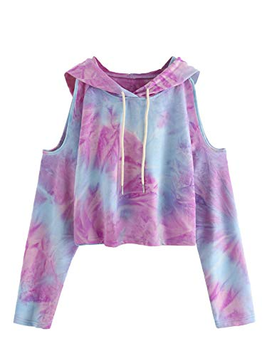 (SweatyRocks Women's Cold Shoulder Tie Dye Pullover Hoodie Crop Top Sweatshirt S)
