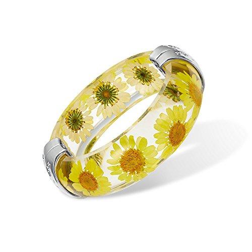 (IDesign Flower Bangle Bracelet for Women Girls Sunflower Necklace Beach Jewelry Resin Plastic Bracelet Bangle for Women Girls Hinged can Open (Yellow))
