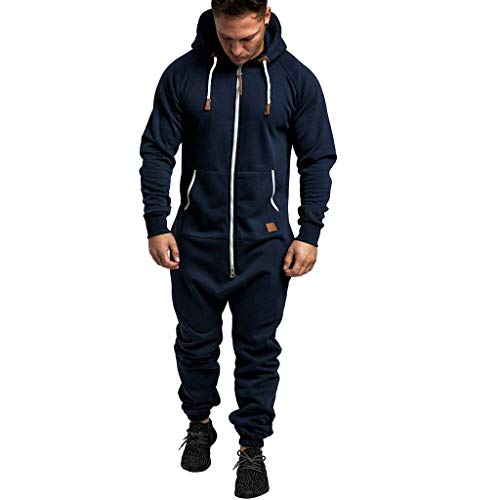 WOCACHI Mens Jumpsuit One-Piece Tracksuit Sale Solid Color Hooded Sweatshirt Drawstring Sweatpants Zipper Jackets Sports Suit 2019 Winter Outdoor Under 10 Dollars Workout Novelty Sweatsuit