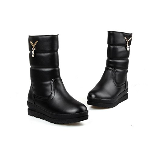 Toe Material Allhqfashion Women's Soft Low Solid Round Black Heels Boots Closed Top Low wtwqf46