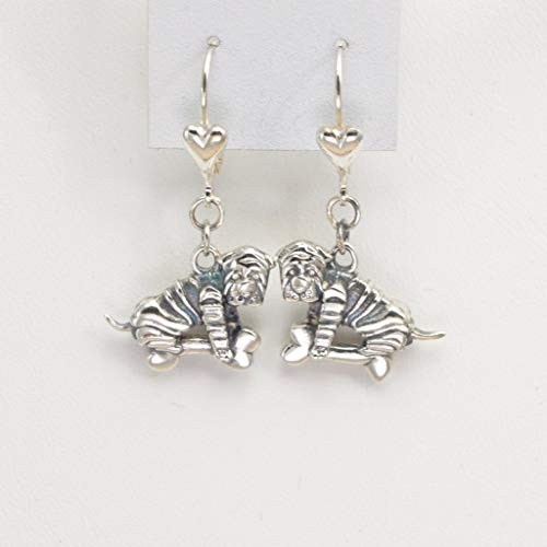 (Sterling Silver Chinese Shar Pei Earrings, Silver SharPei Earrings, Chinese Sharpei Jewelry fr Donna Pizarro's Animal Whimsey)