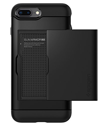 Holder Slot Card (Spigen Slim Armor CS iPhone 8 Plus Case/iPhone 7 Plus Case with Slim Dual Layer Wallet Design and Card Slot Holder for Apple iPhone 8 Plus 2017 / iPhone 7 Plus (2016) - Black)