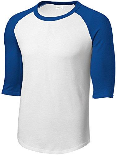 Joe's USA Mens Cotton/Poly 3/4 Sleeve Baseball Tee, -