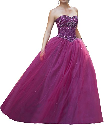 KissBridal Women's Strapless Beading Ball Gown Juniors Graduation Prom Dress Ball Gown Strapless Beading