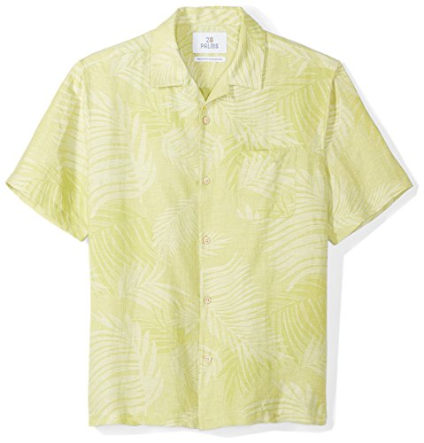 28 Palms Men's Relaxed-Fit Silk/Linen Tropical Leaves Jacquard Shirt, Lime Green, Medium
