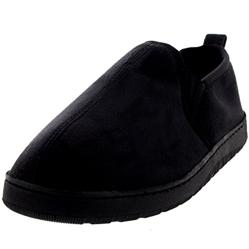 Polar Products Mens Loafer Slip On Warm Cosy Winter Moccasin Slipper Shoes - 10 - BLK43 (Cosy Winter Warmer)