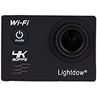 Lightdow LD-V3 WiFi 4K FHD Sports Action Camera Bundle with DSP: Allwinner V3 Chip, Sony IMX179 Sensor, 2.0 LCD Screen, 170° Wide Angle Lens and Bonus Battery