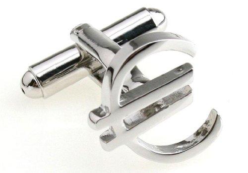 - MRCUFF Euro Currency Sign Pair Cufflinks in a Presentation Gift Box & Polishing Cloth