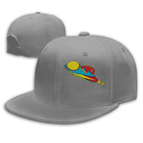 Red Rocket Ship Men's Snapback Flat Bill Baseball Cap Adjustable Sun Hat (Ship Ball Cap Rocket)
