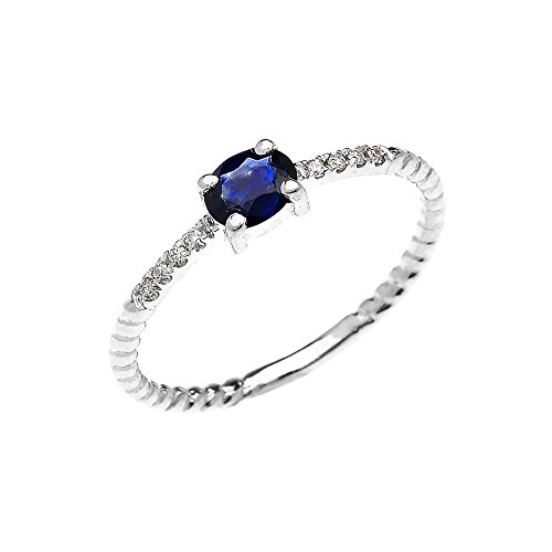 10k White Gold Dainty Solitaire Oval Sapphire and Diamond Rope Design Engagement/Promise Ring(Size 11.5)