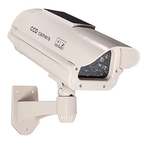Paquete de 2 c/ámaras de videovigilancia ficticias energ/ía Solar con luz led Blanca Intermitente, inal/ámbrica por Infrarrojos, para Exterior e Interior BW