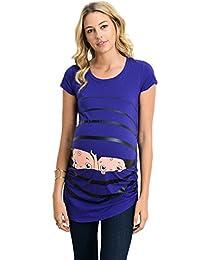 Hello MIZ Women's Maternity Stripe Twin Peeking Baby T-Shirts Top