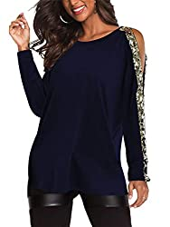 Cold Shoulder Long Sleeves Sequin Top