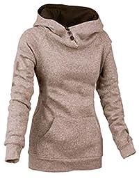 DOKER Women's Slim Fit Funnel Neck Button Hoodie Pullover Sweatshirt