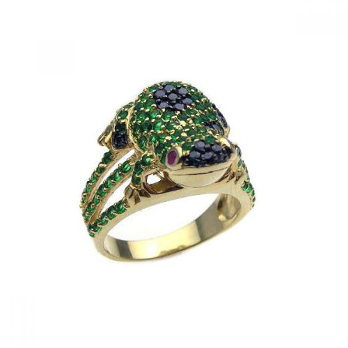 Pave Set Simulated Emerald Black Cubic Zirconia Frog Ring Yellow Gold-Tone Plated Sterling Silver Size ()