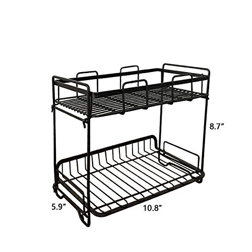 FanBell Reversible Spice Rack Organizer for Countertop 2 Tier Counter Shelf Standing Holder Storage Rack for Kitchen Cabinet Pantry Bathroom
