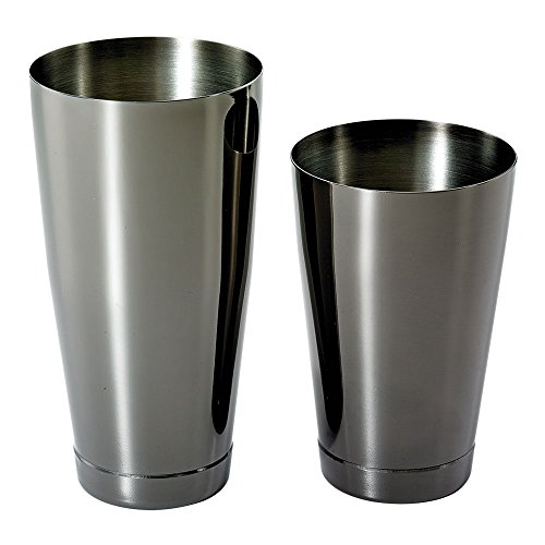 Barfly M37009BK Cocktail Tin Set, 18 oz and 28 oz), Gun Metal Black