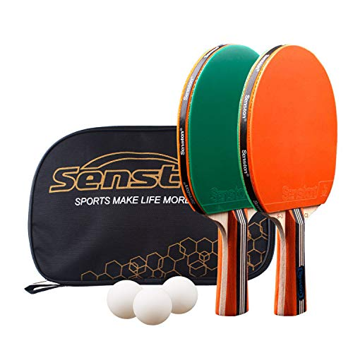 Senston-Ping-Pong-Paddles-Set 2 Player Table Tennis Racket Set with 3 Ping