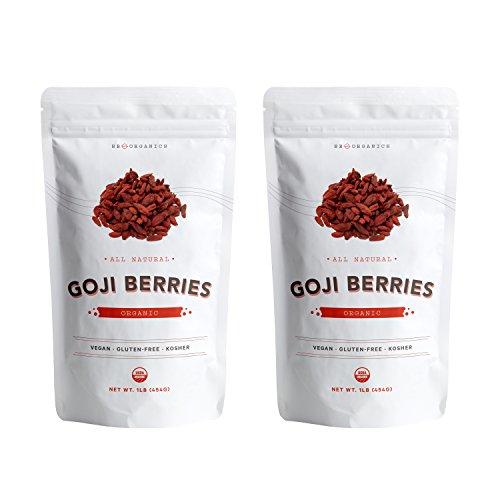 SB ORGANICS Premium Juicy Large Organic Goji Berries - Nutrient Packed Wolfberries - Top Grade Lycium Barbarum - 2 Lbs (Range Berry)