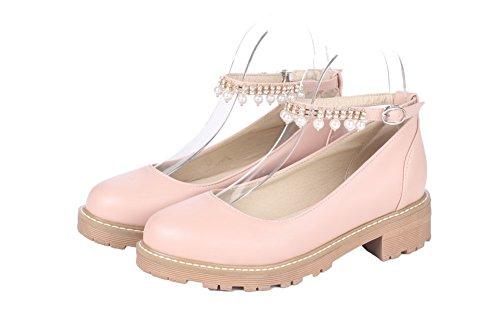 VogueZone009 Damen Schnalle PU Rund Zehe Niedriger Absatz Rein Pumps Schuhe Pink