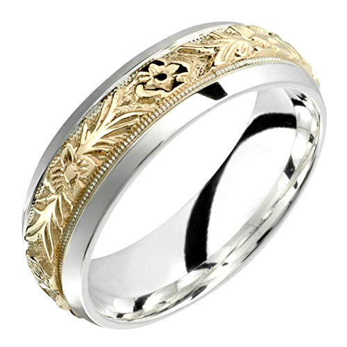 - Alain Raphael 2 Tone Sterling Silver and 10k Yellow Gold 7 Millimeters Wide Wedding Band Ring (5)