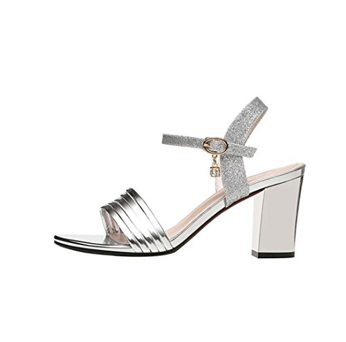 Women's high-heeled heel sandals High-heeled buckle fish-mouthed women's shoes Silver bbKu25
