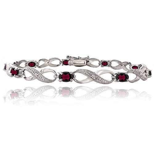 (Bria Lou Silver Flashed Garnet Gemstone & Diamond Accent Infinity Link Bracelet, 7.25