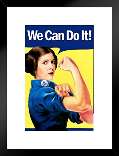 Poster Foundry We Can Do It! Leia Rosie The Riveter Parody Propaganda Matted Framed Wall Art Print 20x26 inch ()