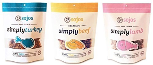 - Sojos 100% Raw Freeze-Dried Meat Treats For Dogs 3 Flavor Variety Bundle: (1) Sojos Simply Beef 100% Raw Freeze-Dried Beef Treats, (1) Sojos Simply Lamb 100% Raw Freeze-Dried Lamb Treats, and (1) Sojos Simply Turkey 100% Raw Freeze-Dried Turkey Treats, 4 O