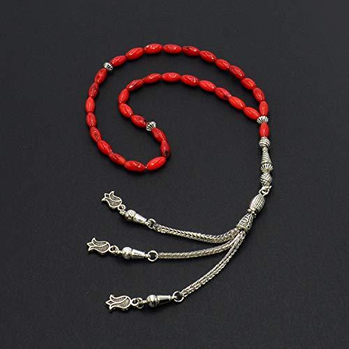 Natural Red Rice Shape Coral Prayer Beads (33 Beads) Tesbih-Tasbih-Tasbeeh-Misbaha-Masbaha-Subha-Sebha-Sibha-Worry Beads