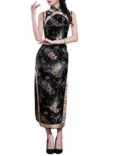 Long Soire TM Robe Mariage de Traditionnel Qipao Chinois en sans Cheongsam Manche Femme Rtro Noir Brocart Elgant XueXian FzwYPYq
