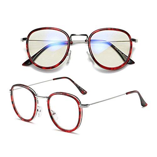 anti métal Red Mode design force Cadre lunettes optiques de de Inlefen en décontracté sans verres bleus PafqSwwnH