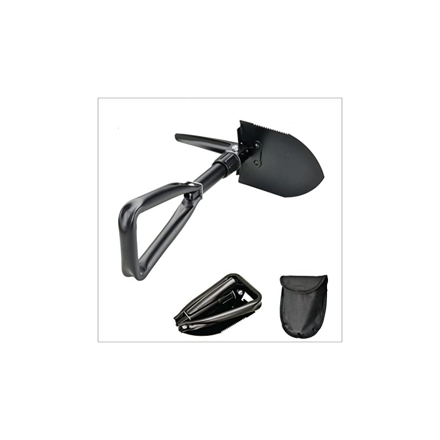 KAMINUO Folding Shovel,Multi function Entrenching Tool Multi Purpose for Camping, Hiking, Backpacking, Gardening with Carrying Pouch