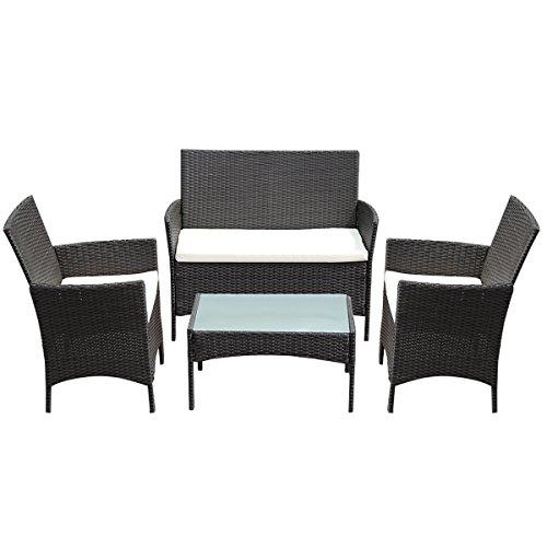 Tangkula 4 pc patio rattan wicker chair sofa table set for Sofa exterior amazon
