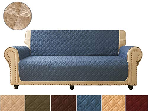 Sofa Cover for Livingroom Furniture Protector, Ideal Loveseat Slipcovers for Pets & Children, Water Resistant, Will Keep your Couch Stain, Dirt & Scratches-Free | Double line checkered grid Navy