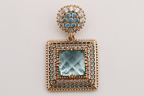 Turkish Handmade Jewelry Square Shape Princess Cut London Blue and Round Cut Topaz 925 Sterling Silver Pendant