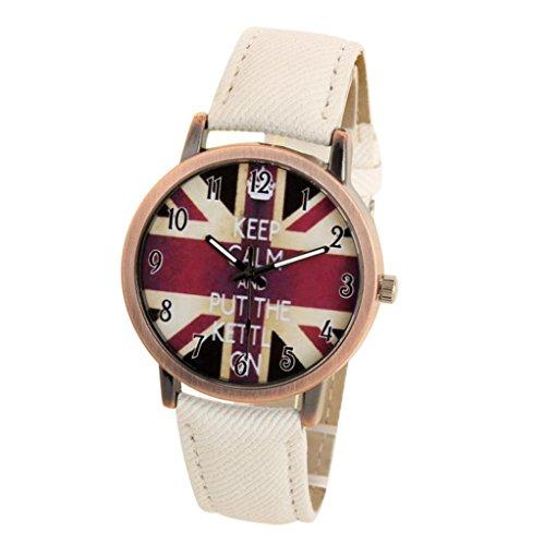 Auwer Denim Watch, Unisex Casual Quartz Analog Sports Denim Fabric UK Flag Wrist Watch (C)
